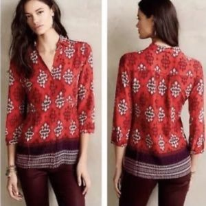 Anthropologie Maeve red southwestern blouse